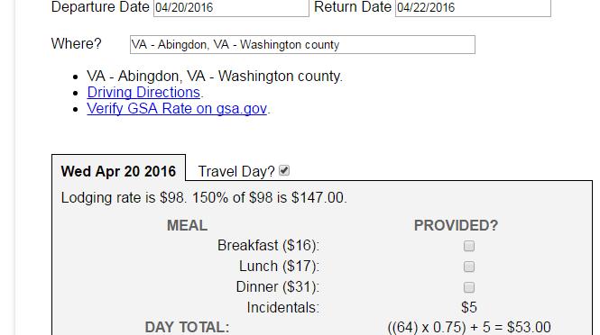 Federal GSA Per Diem Calculator
